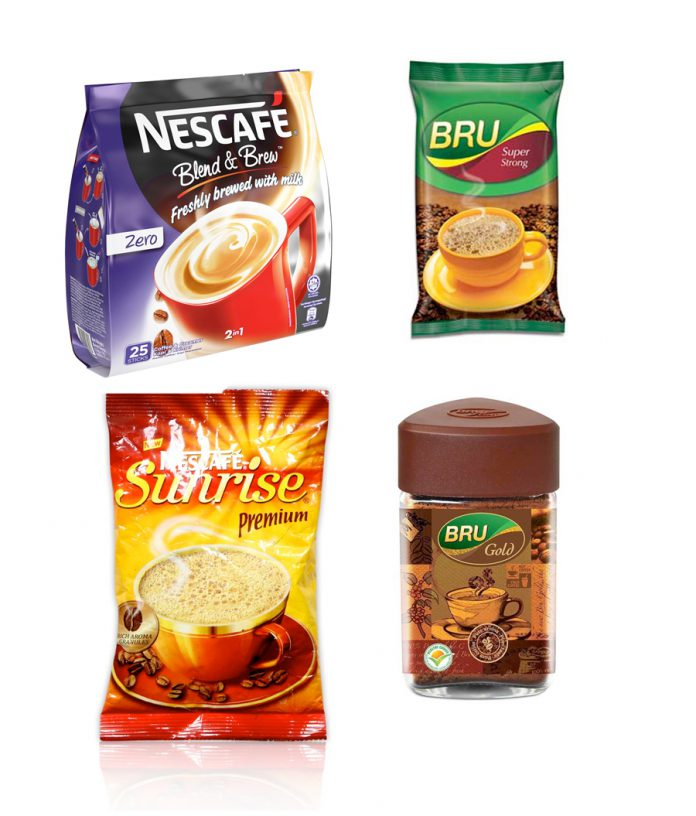Branded instant coffee available in market