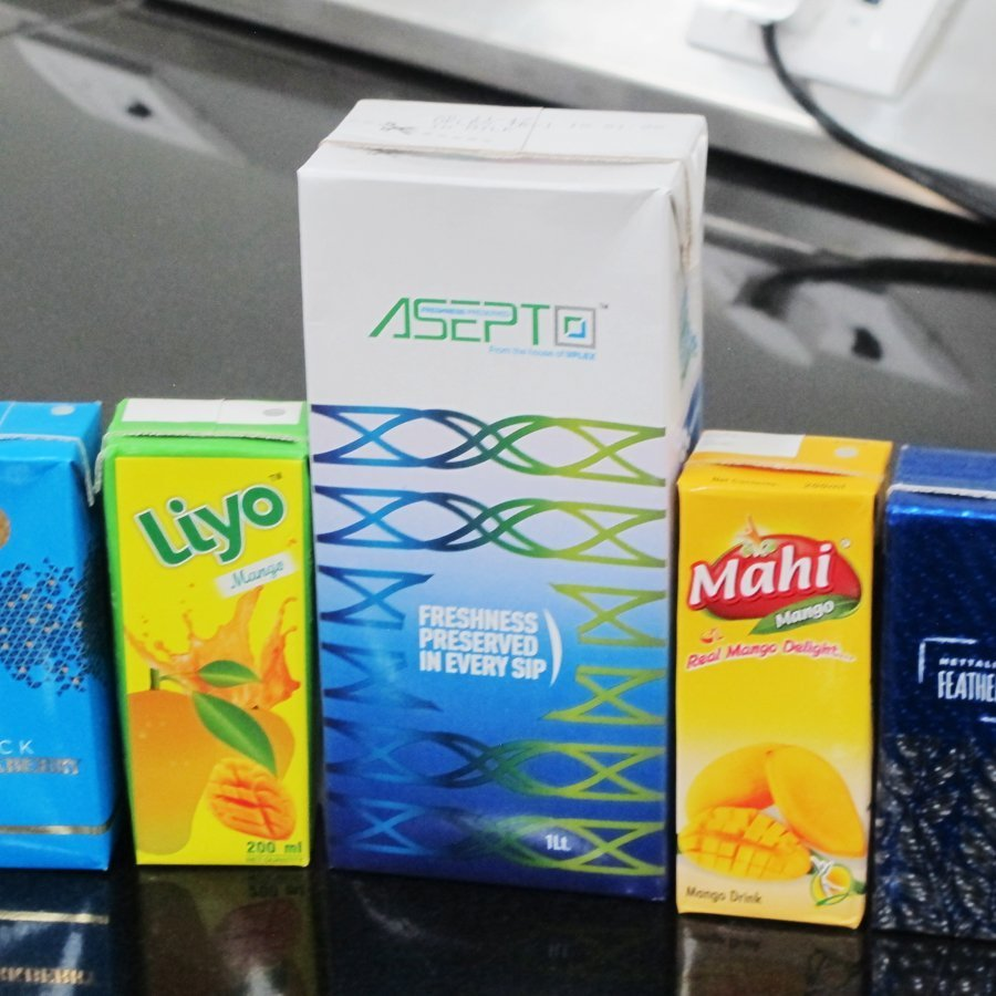 Highly decorative liquid packaging produced by Uflex Asepto in Sanand. Photo PSA