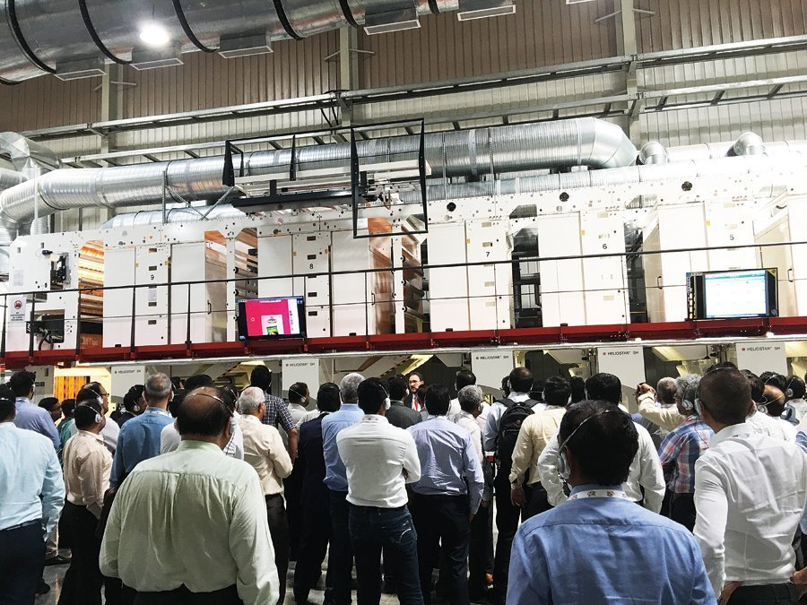 The new Heliostar was shown running at 500 metres a minute to the more than 150 participants and delegates of the Image to Print show, at the open house at Balaji Multiflex, Rajkot on 20 September 2018. Photo PSA