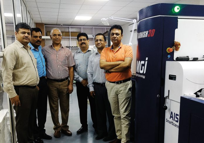 Konica Minolta team with the founders Kamal Malik and Ravinder Kumar of Printology Xperts at Okhla, New Delhi. Photo PSA