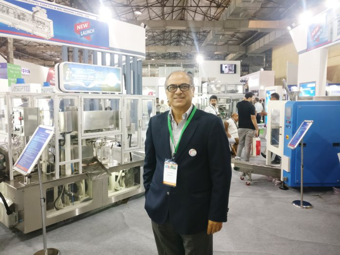 Ajay Tandon, president and chief executive officer of Uflex Engineering Business at PackEx stand