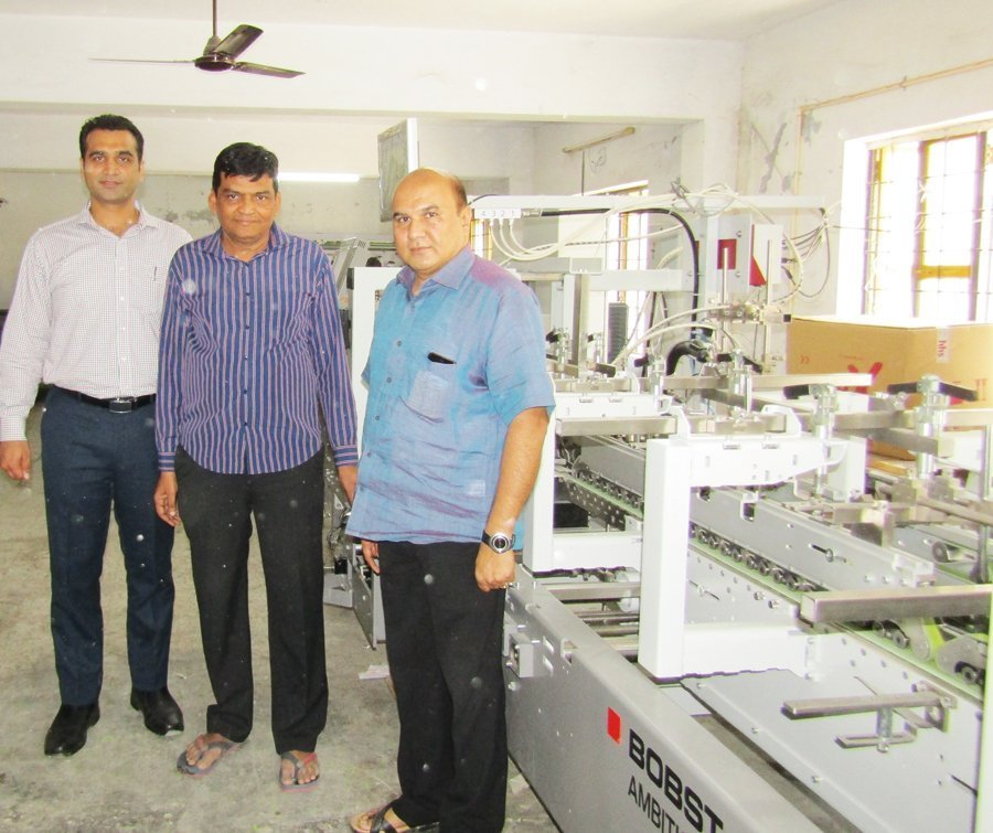 L to R: Suraj Sharma of Bobst, Rajesh Patel and Harshvadan Patel of Brahma Printpack