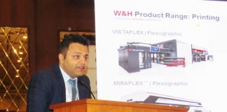 Anuj Sahni, general manager - Sales, W&H India speaking during Image to Print in Rajkot