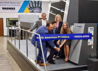 Photo: Cutting the ribbon on the newly installed Heidelberg Primefire 106 (from left in front): Steve Huppert, Warneke Paper Box; Felix Müller, Heidelberg and Stacey Warneke. Behind are Dan Maurer and Montserrat Peidro-Insa, both from Heidelberg.