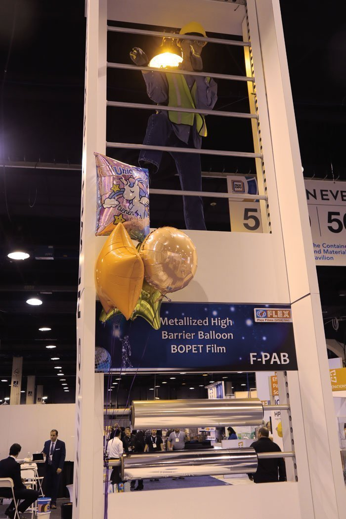 The Uflex stand at Pack Expo, showcasing the New Metallized High Barrier Balloon BOPET Film. Photo PSA