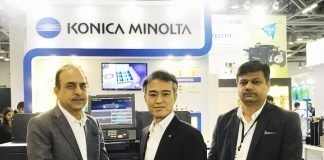 L-R: Kuldeep Malhotra, vice-president - Sales, Daisuke Moro, managing director and Manish Gupta, national marketing manager - PP & IP, Konica Minolta Business Solutions.