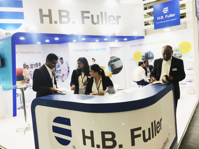 The HB Fuller stand at Labelexpo India 2018 where the company displayed its trademark product for the Indian market, the Lunamelt PS 4015 hot-melt pressure sensitive adhesive.