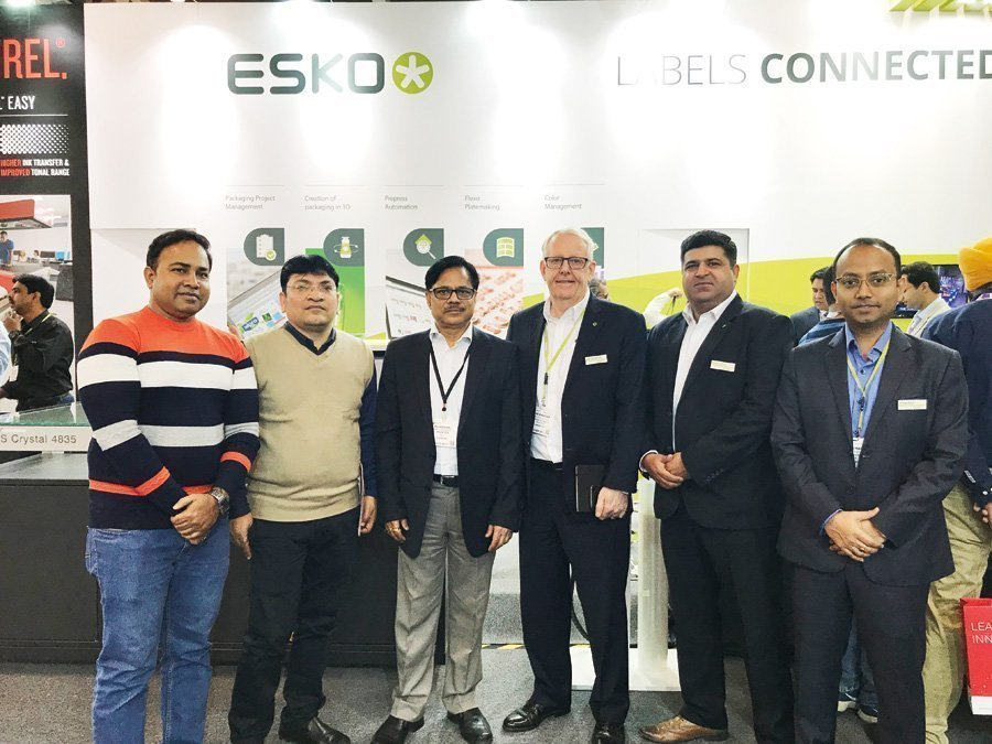 The Esko team announced the sale of its CDI Spark 4260 and XPS Crystal 5080 to Uflex, headquartered at Noida during Labelexpo India 2018.  Photo PSA