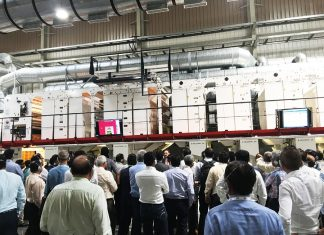 The new Heliostar was shown running at 500 meters a minute to the more than 150 participants and delegates of the Image to Print show, at the open house at Balaji Multiflex, Rajkot on 20 September 2018. Photo PSA