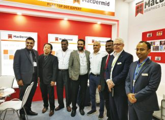 MacDermid team with Digiflex team and Esko team at Labelexpo India 2018