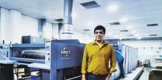 KR Chandrashekar with the RMGT 790 6-color plus coater that was installed at EssCee Enterprises in February 2017. Photo PSA