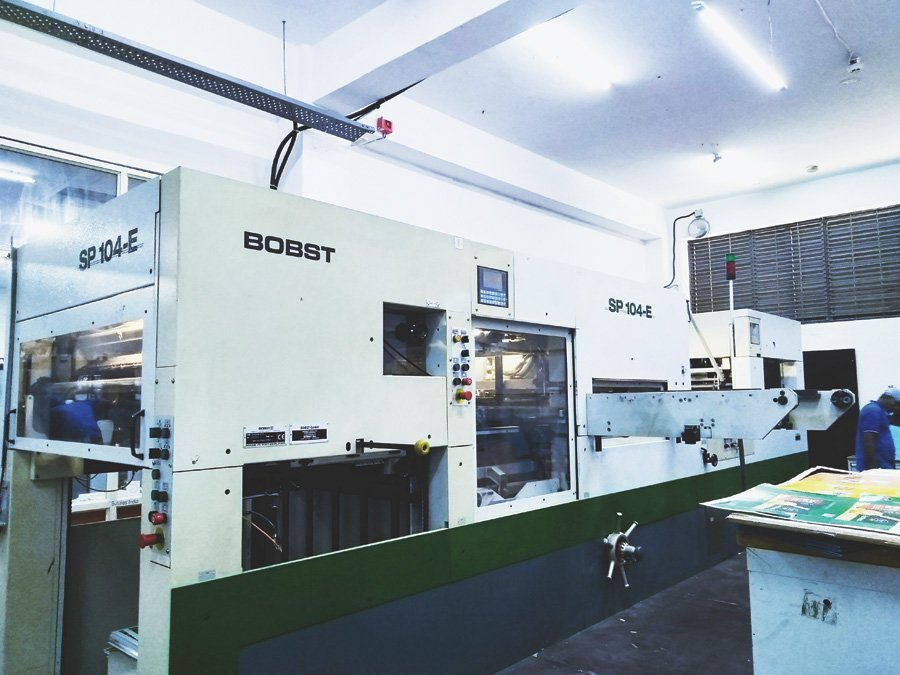 The Bobst SP 104-E autoplaten diecutter at EssCee Enterprises. Photo PSA