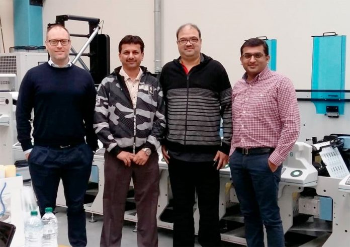 R-L: Tejas Tanna, director, Printmann, Nitin Pathak, head of Operations, Printmann, Mohan Paliwan, general manager, Vinsak and Massimo Lombardi, director, Lombardi Converting Machinery with the newly installed press at Printmann facility in Mumbai.