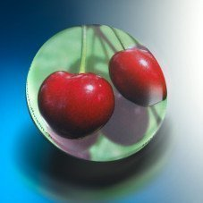 A successful example of a typical matt-gloss finish is the round cherry tin.