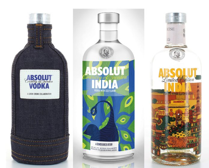 Absolut vodka put a jeans clad bottle on the market for Gen Z several years ago, complete with zipper and sewed on branding patch. It launched its first limited edition in India in 2015 depicting the rich culture, color and heritage of the country