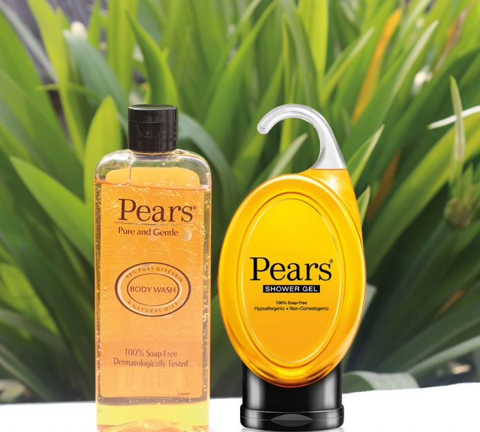 The new and old packaging of Pears body wash