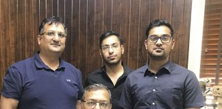 Shailesh Garg (centre, seated), managing director, (Behind L-R)Manish Garg, director, Harshul Garg and Devashish Garg at SMC Packaging plant in Baddi. Photo PSA