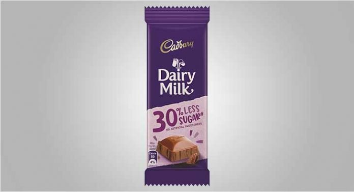 Cadbury Dairy Milk bar with 30% less sugar in India