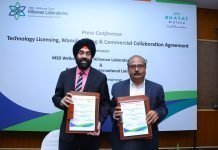 Davinder Gill, chief executive officer of Hilleman Laboratories with Krishna Ella, chairman and managing director of of Bharat Biotech