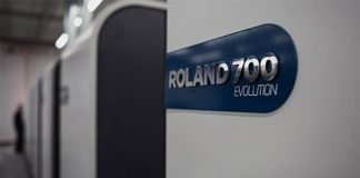 Roland 705 with coating module 3B plus format Evolution press by Manroland