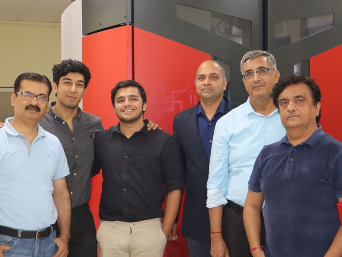 The Hora Arts Centre team with the Xeikon 3500 digital label press at the Ranjangaon plant in Pune on 24 August 2019. From l to r: Shailendar Kapoor Manager of the Hora Arts Centre Noida plant, recent entrants to the family business Shivam Hora and Ramneek Hora, Vikram Saxena General Manager Sales of Xeikon in India, Pradeep Hora Managing Director Hora Arts Centre and Sanjay Hora Director Hora Arts Centre. Photo PSA