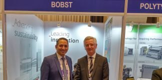 Nilesh Pinto of Bobst India with Giovanni Caprioglio at the 8th Speciality Films & Flexible Packaging Global Summit 2019