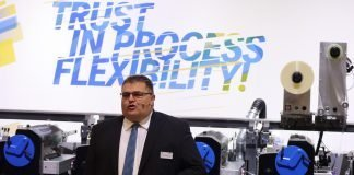 Christof Naier, chief executive officer, Heidelberg Gallus presenting his overview of the company at Labelexpo Brussels.