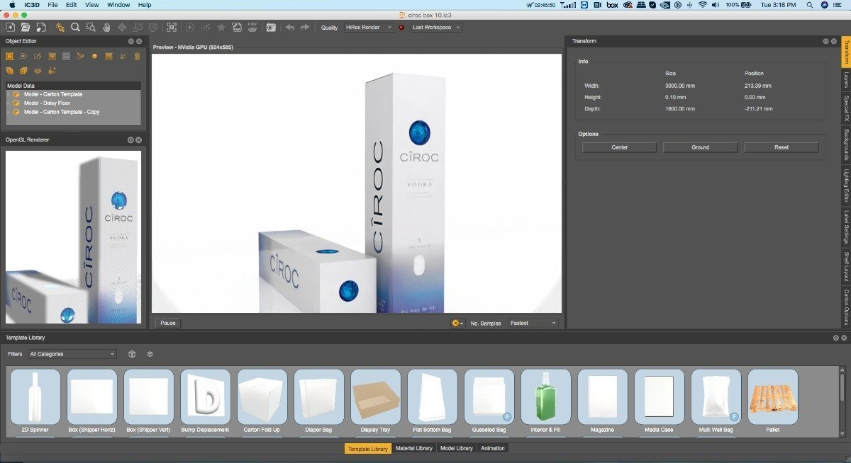 iC3D v6.0 is a world first that allows packagers to visualize and also custom-design new Fresnel Lens effects or holographic materials.