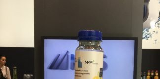 KHS's 100% rPET juice bottle at it's stand at K 2019. Photo PSA