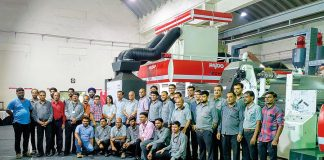 Rajoo, Kohli and Multipgraph Machinery team with the Lamex