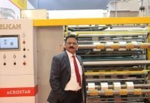 Bharat Shah managing director of Pelican with the new Acrostar dual turret rewinder launched at K. Photo IPP