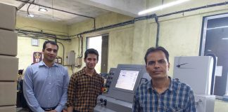 L to R: Suraj Sharma (Bobst), Nitesh Motwani (Print Shoppe) and Mahesh Motwani (Print Shoppe) with the new Bobst Visionfold