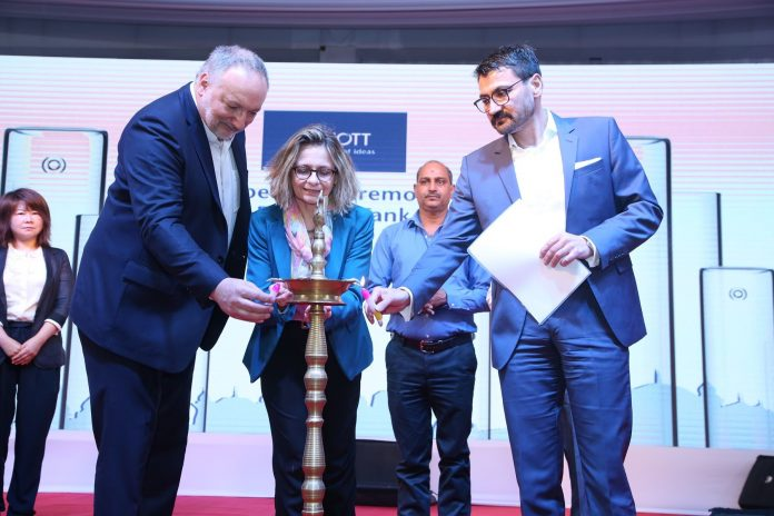 (L to R) Georg Sparschuh- managing director, SCHOTT Glass India, Marja Einig - deputy consul general, German Consulate, Mumbai and Dr Patrick Markschläger, executive vice president, SCHOTT AG, Business Unit Tubing