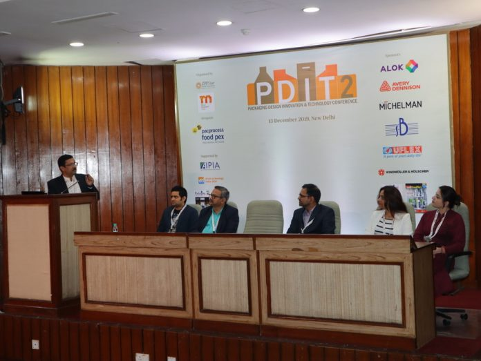 Barun Banerjee of Nestle, Mudit Lawania, Vinay Nalawade of Parakh Flexipack, Leeladhar Poojary of Colgate, Himanshi Mahajan of Mother Dairy and Kriti Soni of Dabur during the brand owners' panel discussion. Photo IPP