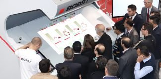 Demonstration of the Digital Inspection Table during the Open House for the new BOBST VISION CI flexo press in the Competence Center of Bobst Bielefeld in Germany