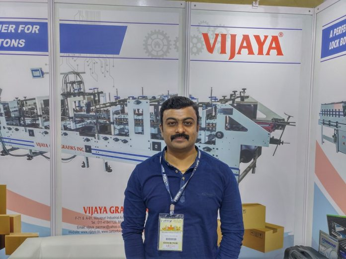 Prashanth Kumar of Vijaya Grafiks at Pamex 2020. Photo PSA