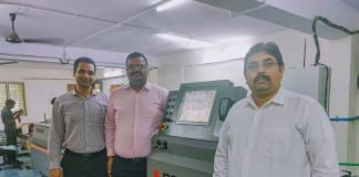 L to R: Suraj Sharma (Bobst India), Pritesh Gadhavi (Bobst India) and Manjeet Dhariwal (Sachin Corrugators and Printers) with the Bobst Visionfold 110 A2. Photo PSA