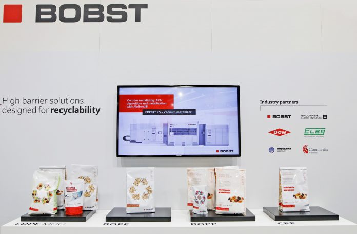 The different types of mono-material high barrier pouches exhibited on the BOBST stand at K 2019