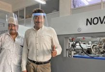 Globe Print n Pack have been producing PPE face shields on their new Bobst Novacut diecutter