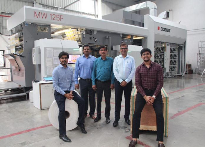 The Pentaflex Film team with the new Bobst 8-color CI flexo press in the new state of the art plant in Ahmedabad