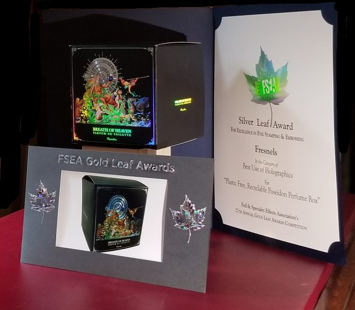FSEA Award 27th Annual Gold Leaf Awards Competition, June 2020. Fresnels Innovations awarded Silver in category 'Best Use of Holographics'. Citation reads For Plastic Free, Recyclable Poseidon box. Photo Fresnels