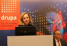 Sabine Geldermann at the drupa 2020 promotion event in 2019 in New Delhi Photo PSA