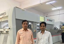 Sushant Packaging's Shrikant Nagmote and Sameer Nagmote with the Bobst Novacut 106 E 3.0 die-cutter