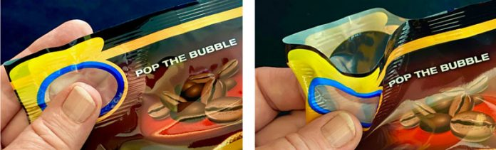 PopPack creates an air bubble that when pressed pops open the flexible pouch Photo PopPack