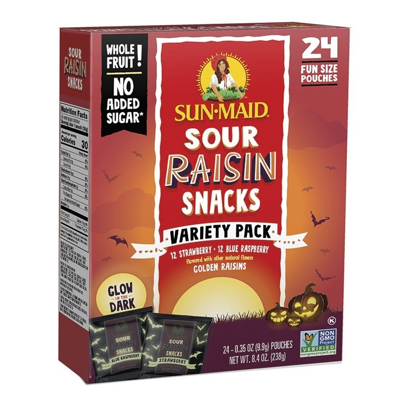 Sun-Maid's limited-edition glow-in-the-dark packaging for its Sour Raisin Snacks and yogurt-covered raisins. Photo – Walmart