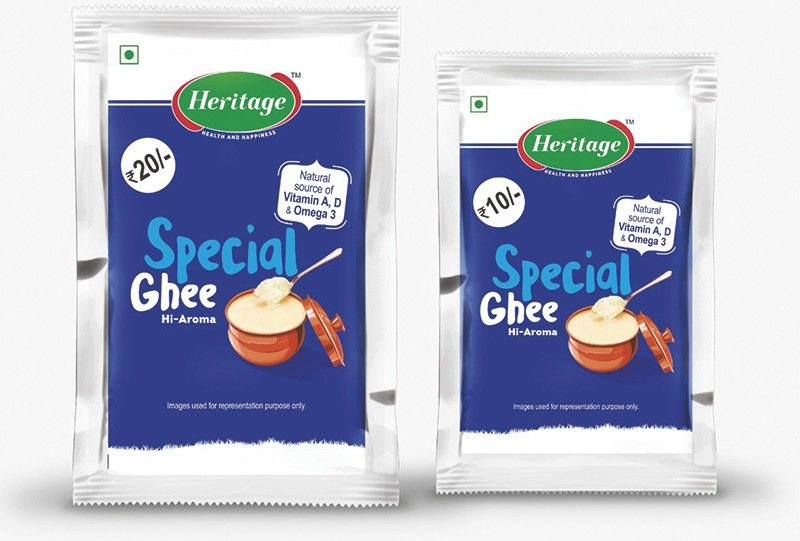 Heritage Foods' pure ghee sachets available at a price of Rs 10 and Rs 20. Photo – Heritage Foods