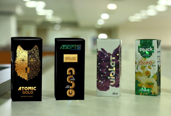Asepto's 200 ml aseptic liquid packaging with holographic and metallic decoration Photo UFlex