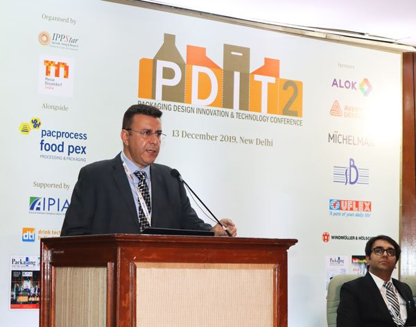 Amit Banga of SB Packaging speaking at the PDIT2 Conference on sustainable laminates for flexible packaging. Photo PSA