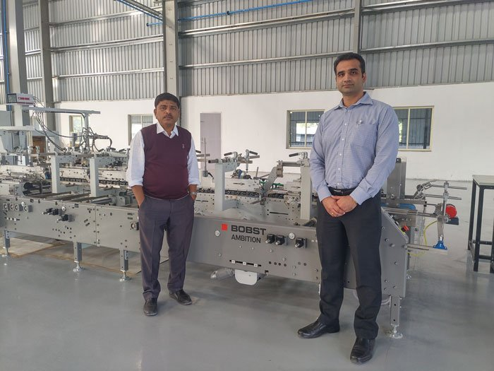 L to R: Sanjay Bhatade and Suraj Sharma of Bobst with the new Ambition 106 A2 folder-gluer