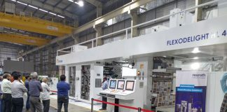 Open house demonstration of the Flexodelight HL 400 CI flexo press in progress at Echaar's Ambernath plant near Mumbai. Photo Echaar